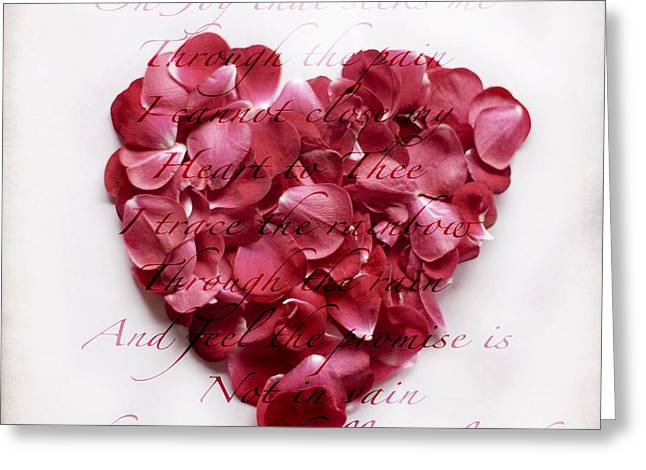 Rose Petal Heart Greeting Cards - Heart of Roses Greeting Card by Linde Townsend