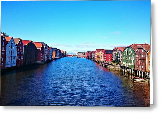 Boats In Water Greeting Cards - Heart of Trondheim Greeting Card by Helen Barth