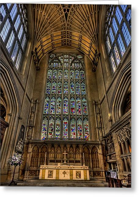 Stained Glass Windows Greeting Cards - Heart of Worship Greeting Card by Evelina Kremsdorf
