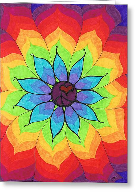 Rainbow Greeting Cards - Heart Peace Mandala Greeting Card by Cheryl Fox