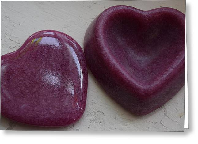 Petals Glass Art Greeting Cards - Heart ring container Greeting Card by Rosalind Duffy