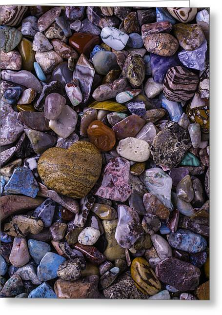 Colored Stones Greeting Cards - Heart Rock Among Colorful Stones Greeting Card by Garry Gay