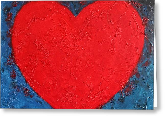 Universal.old Images Greeting Cards - Heart shape symbol bright red on blue abstract background valentine gift Greeting Card by Jozef Klopacka