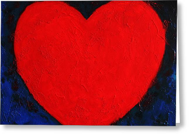 Universal.old Images Greeting Cards - Heart shape symbol simple clear briHeart shape symbol bright red on blue abstract  valentin gift Greeting Card by Jozef Klopacka