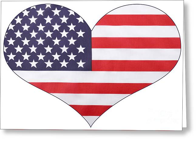 American Independance Greeting Cards - Heart shape USA Flag Greeting Card by Milleflore Images