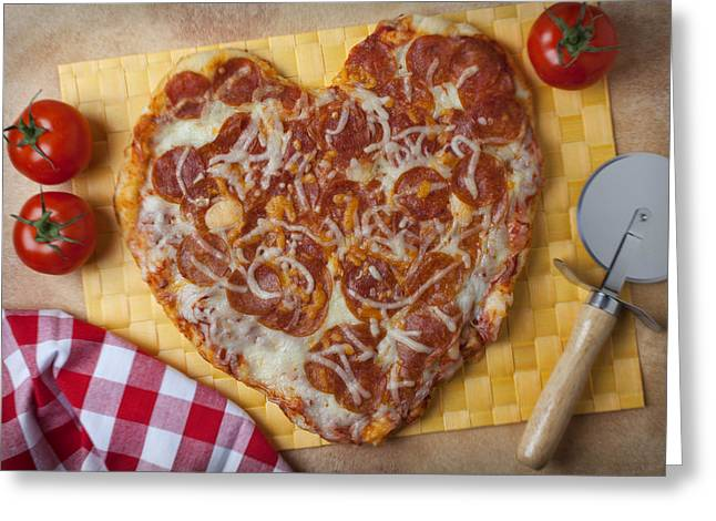 Pie Greeting Cards - Heart Shaped Pizza Greeting Card by Garry Gay