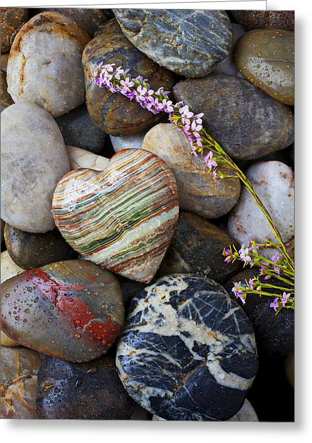 Rock Pile Greeting Cards - Heart stone with wild flower Greeting Card by Garry Gay