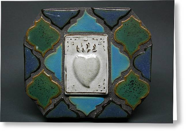 Stoneware Ceramics Greeting Cards - Heart Tama Mosaic Greeting Card by Evelyn Taylor Designs