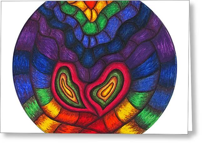 Chakra Rainbow Greeting Cards - Heart Vibrations Greeting Card by Maureen Frank The Mandala Lady