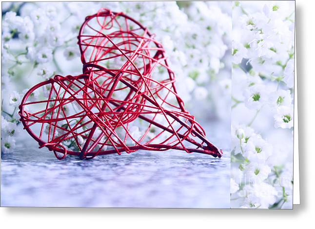 Hearts Greeting Cards - Heart with flowers Greeting Card by SK Pfphotography