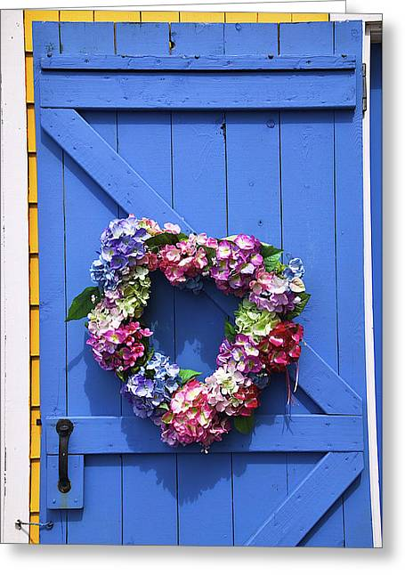 Painted Wood Greeting Cards - Heart Wreath On Blue Door Greeting Card by Garry Gay