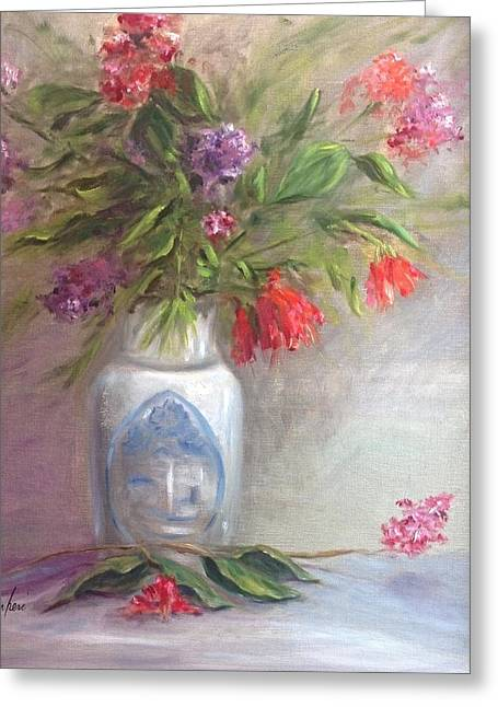 Flower Still Life Prints Greeting Cards - Hearts And Flowers Greeting Card by Anne Barberi