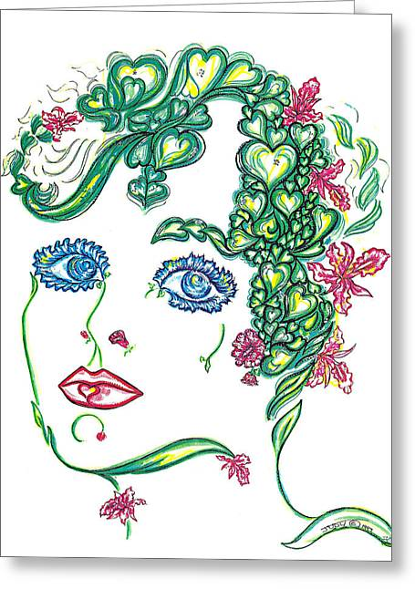 Collection Drawings Greeting Cards - Hearts and Flowers Greeting Card by Judith Herbert