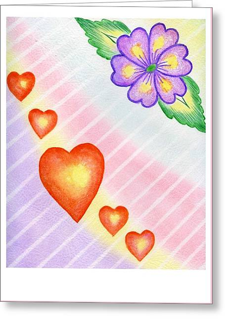 Caring Mother Greeting Cards - Hearts and Flowers Greeting Card by Sarah Lammin