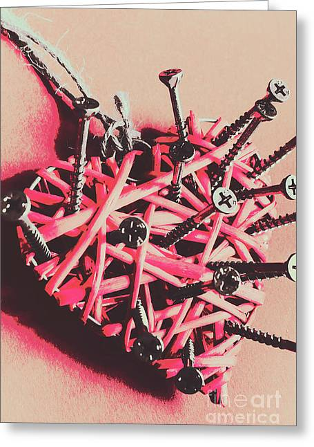 Hearts And Screws Greeting Card by Jorgo Photography - Wall Art Gallery