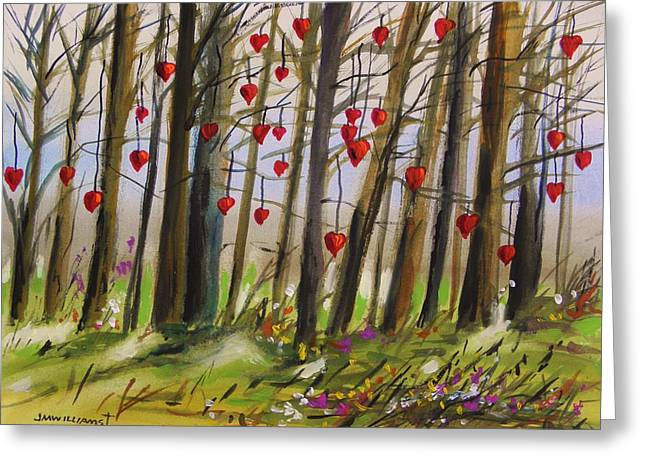 John M. Williams Drawings Greeting Cards - Hearts at Dusk Greeting Card by John  Williams