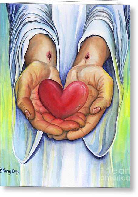 Praying Hands Greeting Cards - Hearts Desire Greeting Card by Nancy Cupp