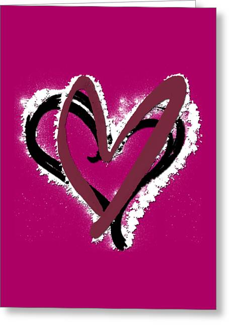 Red Wine Prints Mixed Media Greeting Cards - Hearts Graphic 6 Greeting Card by Melissa Smith