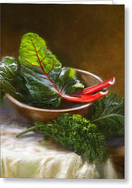 Vegetable Greeting Cards - Hearty Greens Greeting Card by Robert Papp