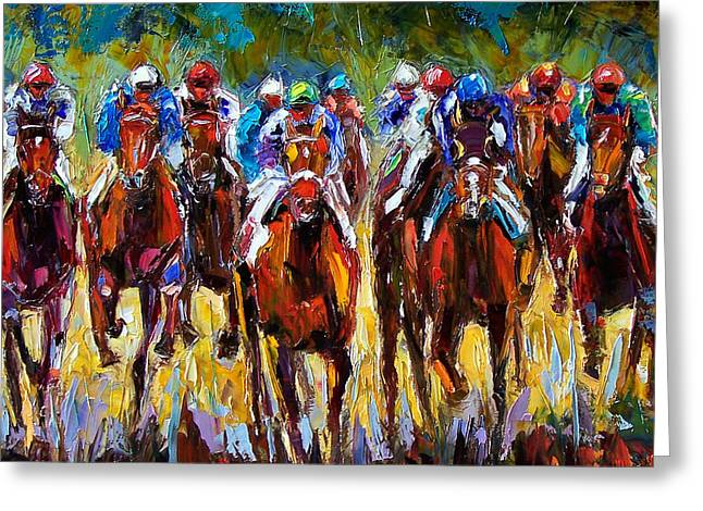 Kentucky Paintings Greeting Cards - Heated Race Greeting Card by Debra Hurd