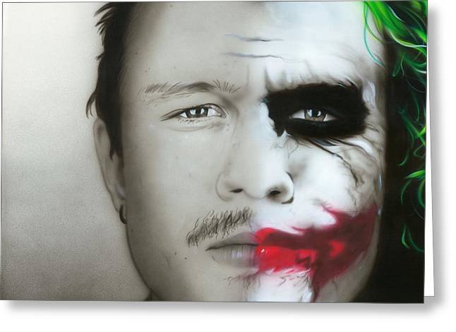 Heath Ledger Greeting Cards - Heath / Joker Greeting Card by Christian Chapman Art