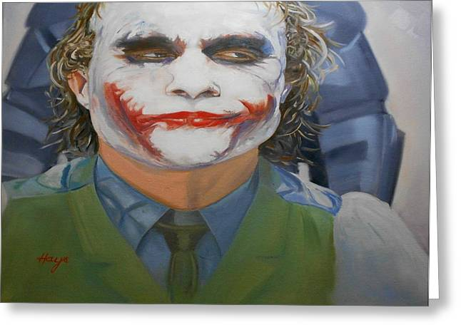 Ledger; Book Paintings Greeting Cards - Heath Ledger-Joker Greeting Card by Donna Hays