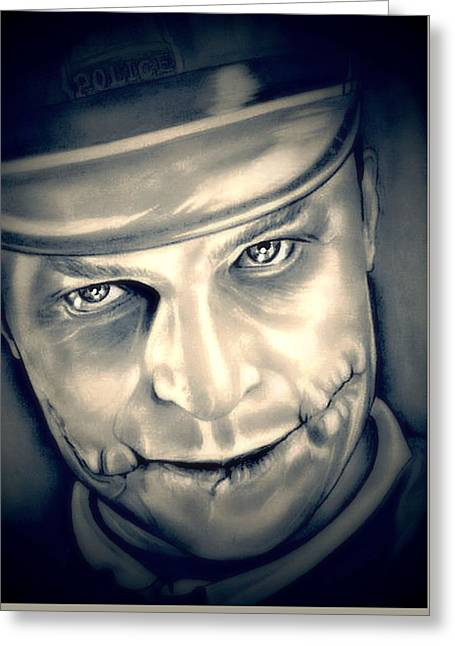 Heath Ledger Greeting Cards - Heath Ledger The Joker Unmasked Greeting Card by Fred Larucci