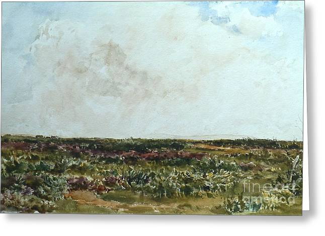 Heathland Scene Looking Towards Greeting Card by Thomas Collier