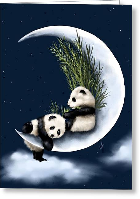 Blue Panda Greeting Cards - Heaven of rest Greeting Card by Veronica Minozzi