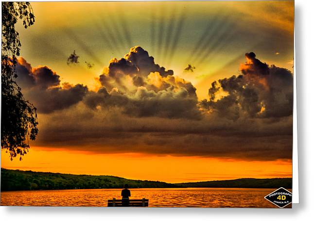 Recently Sold -  - Ithaca Greeting Cards - Heaven Over Cayuga Greeting Card by Joseph Scaglione