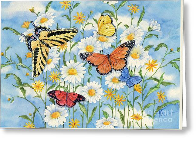 Daisy Greeting Cards - Heavenly Daisies with Butterflies Greeting Card by Paul Brent