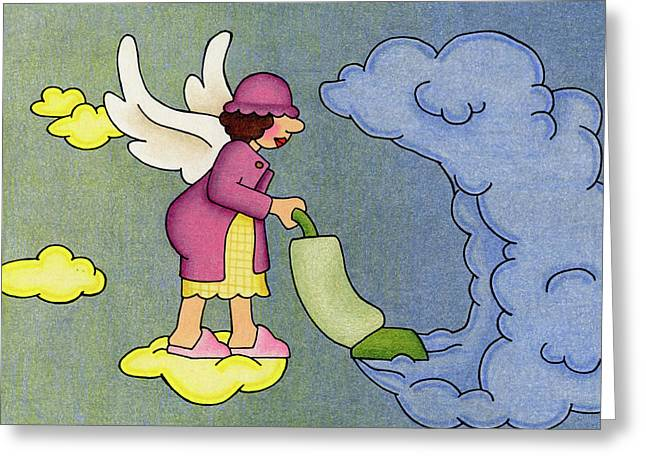 Heavenly Housekeeper Greeting Card by Sarah Batalka