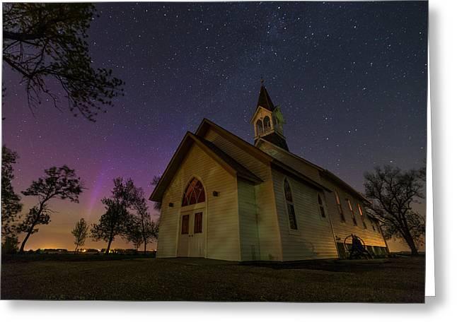 Moonrise Greeting Cards - Heavenly Lights Greeting Card by Aaron J Groen