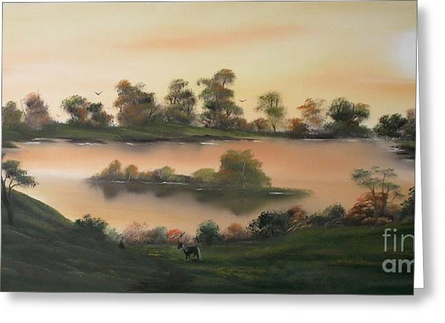Canoe Greeting Cards - Heavenly Morning in Autumn Greeting Card by Cynthia Adams