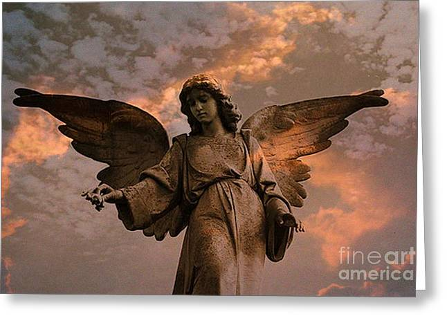 Surreal Angel Art Greeting Cards - Heavenly Spiritual Angel Wings Sunset Sky  Greeting Card by Kathy Fornal