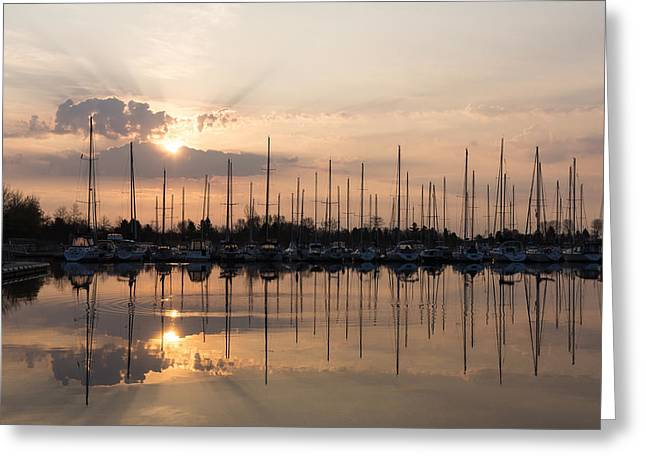 Holy Vessels Greeting Cards - Heavenly Sunrays - Peaches-and-Cream Sunrise with Boats Greeting Card by Georgia Mizuleva