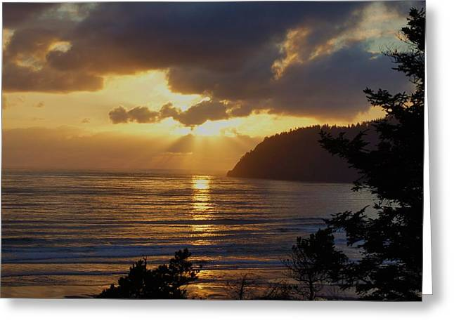 Pacfic Ocean Greeting Cards - Heavenly Sunset Greeting Card by Angi Parks