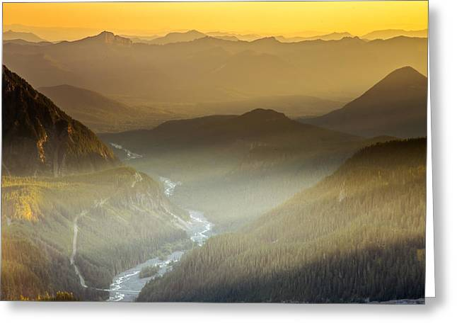 Mountain Valley Greeting Cards - Heavens Golden Light Greeting Card by Judi Kubes