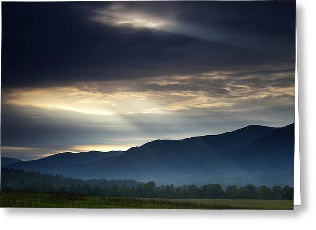 Great Smoky Mountains Greeting Cards - Heavens Light Greeting Card by Andrew Soundarajan