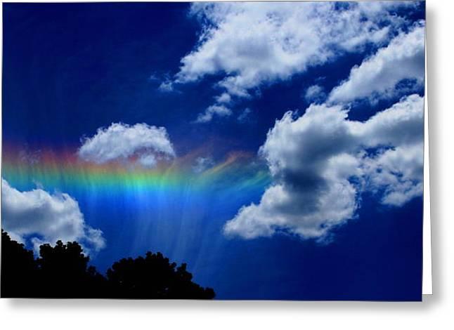 Skys Greeting Cards - Heavens rainbow Greeting Card by Linda Sannuti