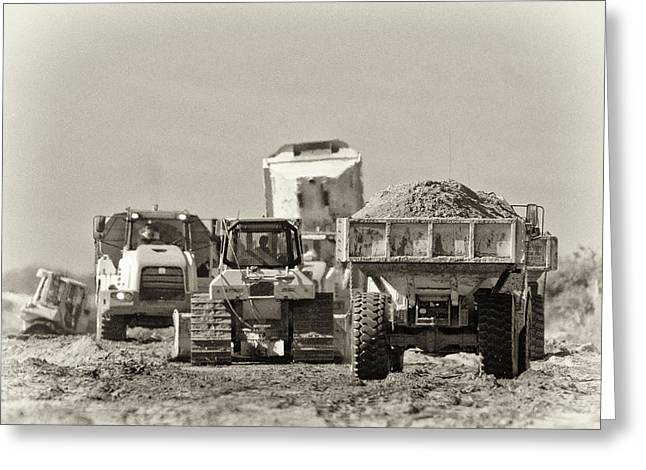Moving Earth Greeting Cards - Heavy Equipment Meeting Greeting Card by Patrick M Lynch