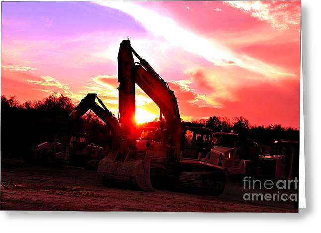 Front End Loader Greeting Cards - Heavy Equipment Sunset 2 Greeting Card by Rolling Art Studio