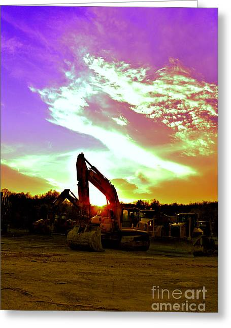 Front End Loader Greeting Cards - Heavy Equipment Sunset Greeting Card by Rolling Art Studio