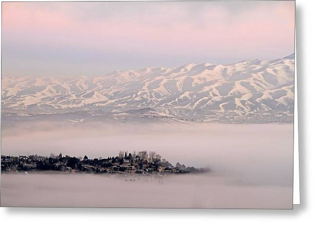 Foggy. Mist Greeting Cards - Heavy Fog at Sunrise Greeting Card by Donna Kennedy