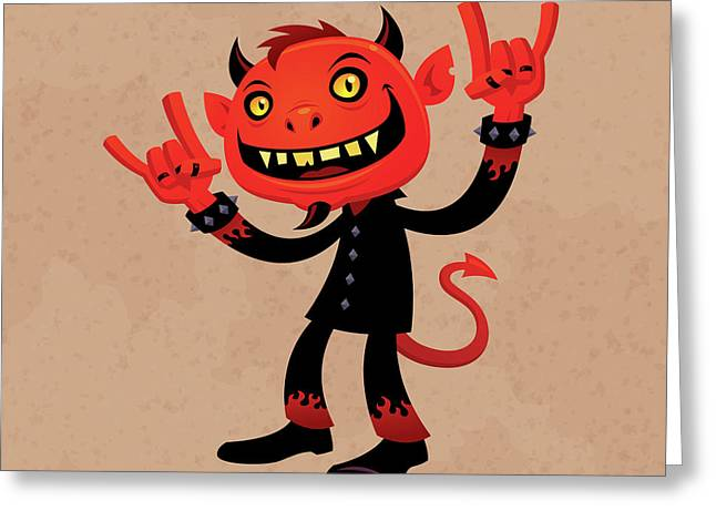 Evil Digital Greeting Cards - Heavy Metal Devil Greeting Card by John Schwegel
