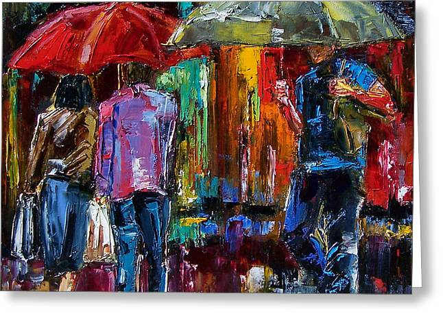 Heavy Rain Greeting Card by Debra Hurd