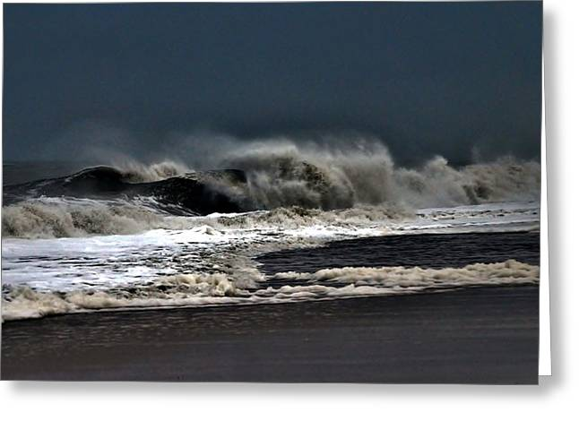 Surf City Greeting Cards - Stormy Surf Greeting Card by Kim Bemis