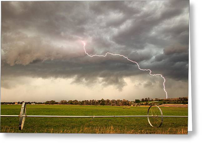 Heber Valley Lightning Strike. Greeting Card by Johnny Adolphson