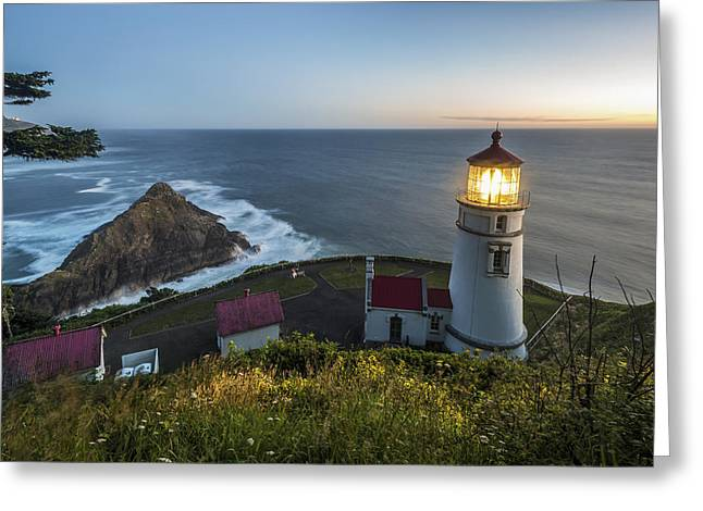 Cliffs Over Ocean Greeting Cards - Heceta Head Lighthouse At Dusk  Oregon Greeting Card by Remsberg Inc