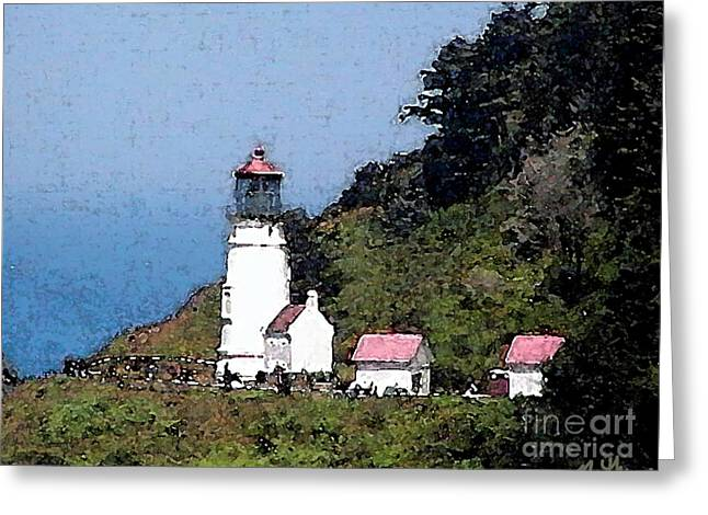 Heceta Greeting Cards - Heceta Head Lighthouse Greeting Card by Methune Hively